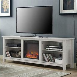 """White Wash Wood 70 Inch Tv Stand Fireplace Space Pertaining To 2020 Mainor Tv Stands For Tvs Up To 70"""" (View 19 of 30)"""