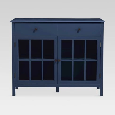 """Windham 2 Door Accent Buffet, Cabinet With Shelves – Navy Inside 2020 Orianne 55"""" Wide 2 Drawer Sideboards (View 18 of 30)"""