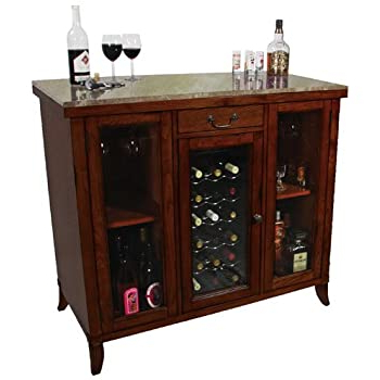 Wood Accent Sideboards Buffet Serving Storage Cabinet With 4 Framed Glass Doors For Well Known Amazon: Cherry Wine Cooler Wine Cabinet Bar Wood (View 27 of 30)