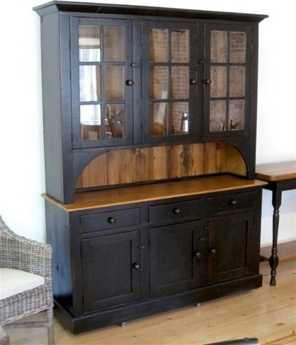 Wood Accent Sideboards Buffet Serving Storage Cabinet With 4 Framed Glass Doors With Latest 6 Door 3 Drawer Black Hutch – Farmhouse – China Cabinets (View 3 of 30)