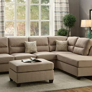 2017 3pc Polyfiber Sectional Sofas With Nail Head Trim Blue/gray Inside A.m.b (View 5 of 10)