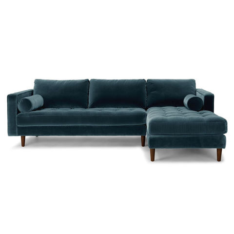 2017 Dulce Mid Century Chaise Sofas Dark Blue For 10 Best Velvet Sofas & Chairs To Buy In 2018 – Green, Blue (View 5 of 10)