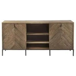 2017 Media Console Cabinet Tv Stands With Hidden Storage Herringbone Pattern Wood Metal Throughout Ashley Rustic Lodge Brown Herringbone Pattern Wood Media (View 1 of 10)