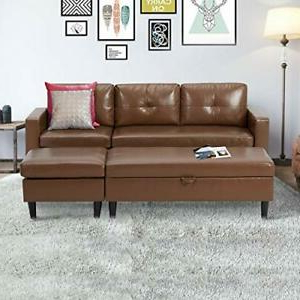 2017 Small Space Brown Faux Leather Sectional Sofa Bed Set W With Regard To 3pc Faux Leather Sectional Sofas Brown (View 7 of 10)