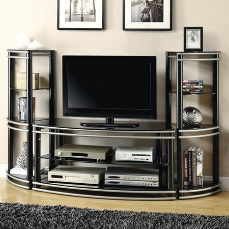 2017 Television Stands: Materials And Style In Tier Entertainment Tv Stands In Black (View 10 of 10)