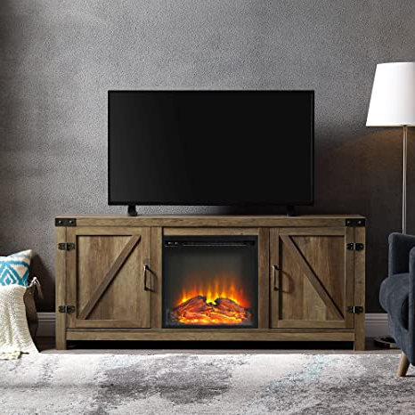 2017 Walker Edison Farmhouse Tv Stands With Storage Cabinet Doors And Shelves Throughout Amazon: We Furniture Farmhouse Barn Wood Fireplace (View 10 of 10)