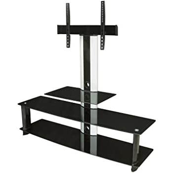 """2017 Whalen Furniture Black Tv Stands For 65"""" Flat Panel Tvs With Tempered Glass Shelves Inside Amazon: Mount It! Mi 869 Tv Stand With Mount (View 1 of 10)"""