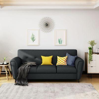2018 Buttoned Traditional 3 Seater Dark Gray Sofa # Regarding Polyfiber Linen Fabric Sectional Sofas Dark Gray (View 9 of 10)