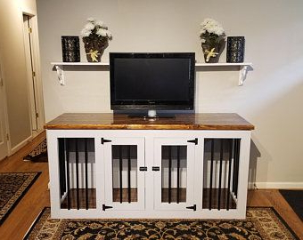 2018 Large Wooden Double Dog Kennel Furniture Dog Crate Throughout Santiago Tv Stands (View 2 of 10)