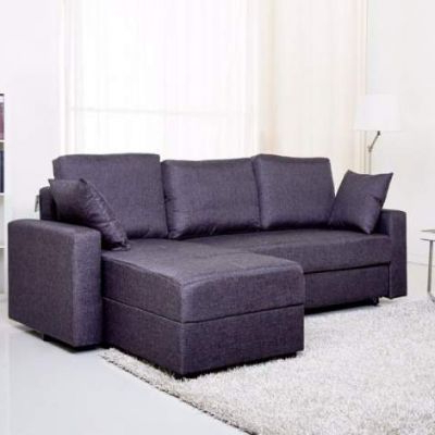 2018 Live It Cozy Sectional Sofa Beds With Storage Within Aspen Convertible Sectional Storage Sofa Bed In Dark Gray (View 7 of 10)