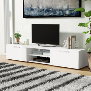 2018 Modern Low Profile Tv Media Stand Glossy Entertainment Pertaining To Chromium Extra Wide Tv Unit Stands (View 8 of 10)