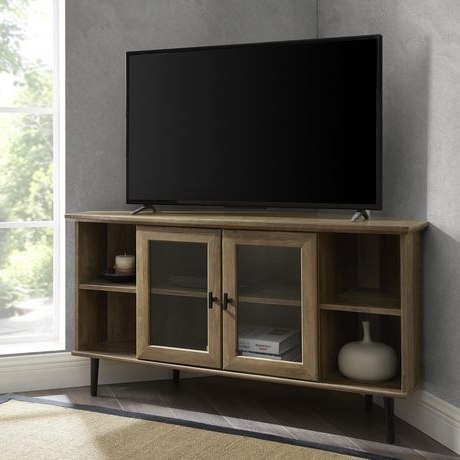 2018 Modern Simple Glass Door Corner Tv Console For Tv's Up To Pertaining To Bromley White Wide Tv Stands (View 3 of 10)