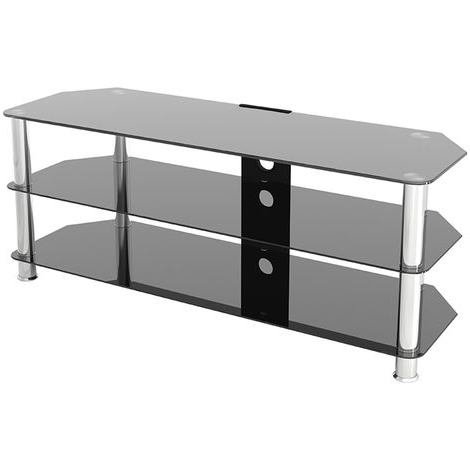 """2018 Paulina Tv Stands For Tvs Up To 32"""" Inside King Glass Tv Stand 125cm, Chrome Legs, Black Glass, Cable (View 6 of 10)"""