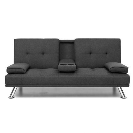 2018 Polyfiber Linen Fabric Sectional Sofas Dark Gray With Regard To Artiss Linen Fabric 3 Seater Sofa Bed Recliner Lounge (View 3 of 10)