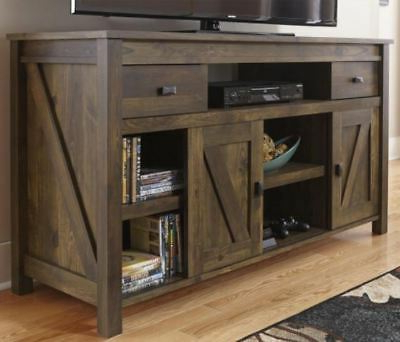2018 Rustic Country Tv Stands In Weathered Pine Finish For Rustic Tv Stand Smart 4k Entertainment Center Farmhouse  (View 5 of 10)