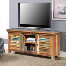 2018 Rustic Reclaimed Wood Rainbow Shutter Doors Tv Stand Media For Petter Tv Media Stands (View 4 of 10)