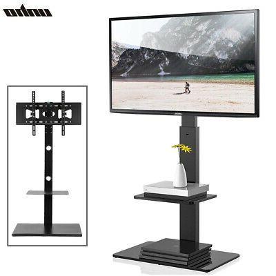 "2018 & Strong 32 65"" Swivel Tilt Floor Tv Stand Mount In Within Floor Tv Stands With Swivel Mount And Tempered Glass Shelves For Storage (View 1 of 10)"