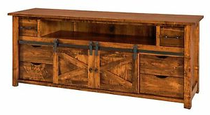2018 Tv Stands With Sliding Barn Door Console In Rustic Oak Inside Amish Rustic Tv Stand Cabinet Solid Wood Barn Door Sliding (View 6 of 10)