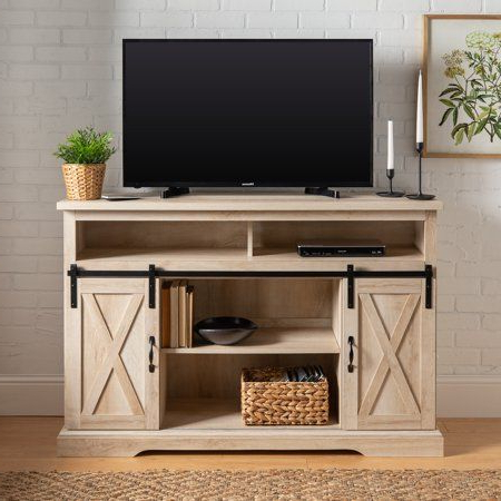 2018 Tv Stands With Sliding Barn Door Console In Rustic Oak With Woven Paths Farmhouse Barn Door Tv Stand For Tvs Up To  (View 8 of 10)