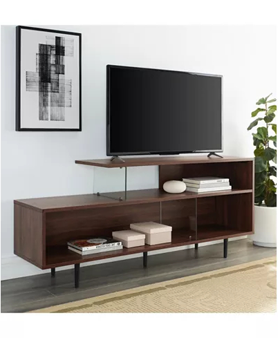 2018 Walker Edison Asymmetrical Wood And Glass Console In Urban Rustic Tv Stands (View 8 of 10)