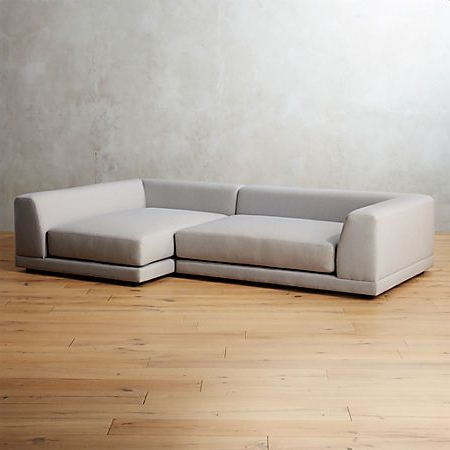 2pc Connel Modern Chaise Sectional Sofas Black With Recent Uno 2 Piece Left Arm Sapphire Striped Sectional Sofa (View 8 of 10)