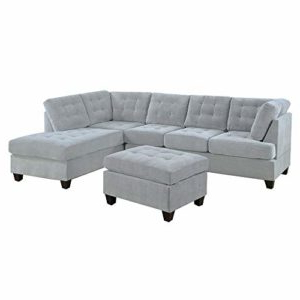 2pc Crowningshield Contemporary Chaise Sofas Light Gray Regarding Latest Casa Andreamilano 2 Piece Modern Soft Tufted Micro Suede (View 7 of 10)