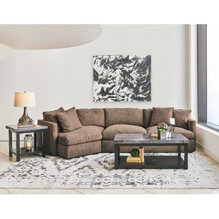 2pc Maddox Right Arm Facing Sectional Sofas With Cuddler Brown Pertaining To Fashionable Sectional With Cuddler (View 5 of 10)