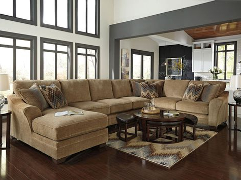 2pc Maddox Right Arm Facing Sectional Sofas With Cuddler Brown Regarding Newest Canyon – Oversize Brown Chenille Living Room Sofa Couch (View 4 of 10)