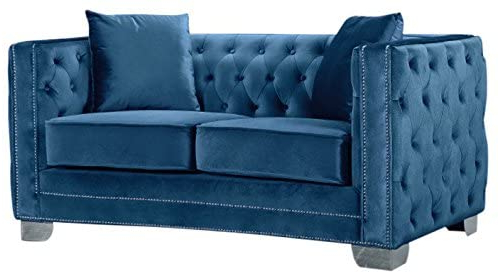 2pc Polyfiber Sectional Sofas With Nailhead Trims Gray For Preferred Amazon: Meridian Furniture Reese Button Tufted Velvet (View 10 of 10)
