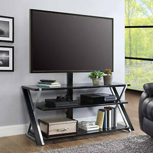 3 In 1 Tv Stand For Tvs Up To 70' W/ 3 Display Options Inside Fashionable Whalen Xavier 3 In 1 Tv Stands With 3 Display Options For Flat Screens, Black With Silver Accents (View 9 of 10)