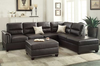 3pc Bonded Leather Upholstered Wooden Sectional Sofas Brown For Most Current F7609 Sectional Sofa 3pc In Espresso Bonded Leatherboss (View 6 of 10)