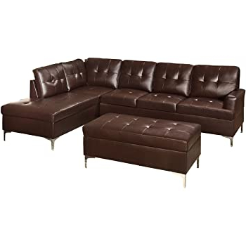 3pc Bonded Leather Upholstered Wooden Sectional Sofas Brown Throughout Newest Amazon: Homelegance 3 Piece Tufted Accent Sectional (View 2 of 10)