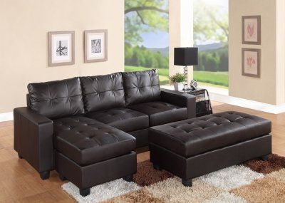 3pc Bonded Leather Upholstered Wooden Sectional Sofas Brown Within Most Current 2514 Sectional Sofa Set In Dark Brown Bonded Leather Match (View 10 of 10)