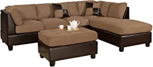 3pc Faux Leather Sectional Sofas Brown Throughout 2017 Amazon: Bobkona Hungtinton Microfiber/faux Leather  (View 6 of 10)