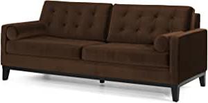 3pc French Seamed Sectional Sofas Velvet Black In Well Liked Amazon: Armen Living 725 Centennial Sofa, Brown Velvet (View 4 of 10)