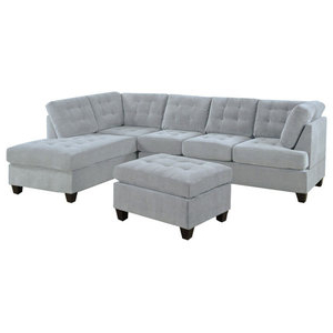 3pc Polyfiber Sectional Sofas With Nail Head Trim Blue/gray Within 2017 Trexm Grey Sectional Sofa Set With Chaise Lounge And (View 8 of 10)