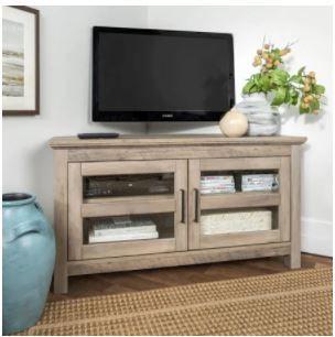 "44"" Corner Wood Tv Console In Grey Wash – Walker Edison Inside Most Popular Walker Edison Wood Tv Media Storage Stands In Black (View 1 of 10)"