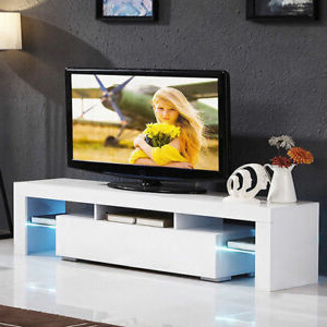"""47"""" Tv Stands High Gloss Tv Cabinet With 2 Drawers With Latest 51"""" Tv Stand High Gloss White Cabinet Console Furniture W (View 2 of 10)"""