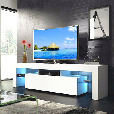 """47"""" Tv Stands High Gloss Tv Cabinet With 2 Drawers With Regard To Popular Modern White 63'' Tv Stand Unit Cabinet W/ Led Light  (View 4 of 10)"""