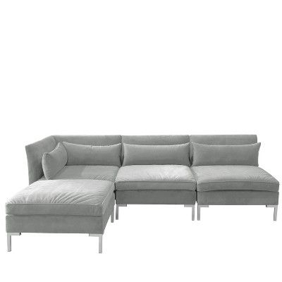4pc Alexis Sectional With Silver Metal Y Legs – Skyline Intended For Latest 4pc Alexis Sectional Sofas With Silver Metal Y Legs (View 2 of 10)