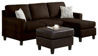 4pc Crowningshield Contemporary Chaise Sectional Sofas In Newest 2 Piece Chocolate Microfiber Reversible Chaise Sectional (View 10 of 10)