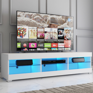 """57'' Tv Stands W/led Lights For Tvs Up To 65"""", Multiple Intended For Most Popular Woven Paths Farmhouse Barn Door Tv Stands In Multiple Finishes (View 9 of 10)"""