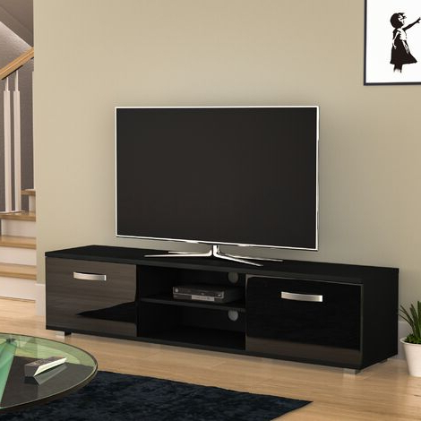 57'' Tv Stands With Led Lights Modern Entertainment Center Intended For Well Known Tv Stands (View 1 of 10)