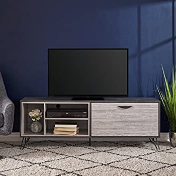 57'' Tv Stands With Open Glass Shelves Gray & Black Finsh Pertaining To Fashionable Amazon: Christopher Knight Home 303659 Faux Wood Tv (View 3 of 10)