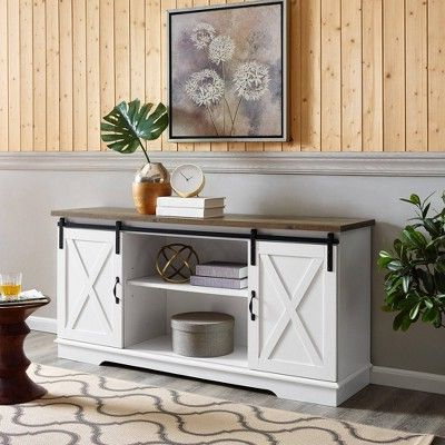"""58"""" Modern Farmhouse Wood Tv Stand White/rustic Oak With Latest Jaxpety 58"""" Farmhouse Sliding Barn Door Tv Stands In Rustic Gray (View 9 of 10)"""