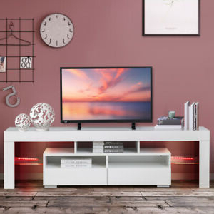 """63'' High Gloss Led Light Tv Stand Unit Console Cabinet With Newest 47"""" Tv Stands High Gloss Tv Cabinet With 2 Drawers (View 10 of 10)"""