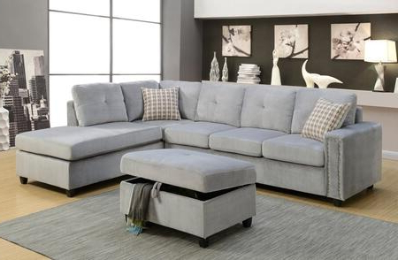 Acme Furniture Belville Collection 52710set 2 Pc Living Pertaining To Well Liked Noa Sectional Sofas With Ottoman Gray (View 8 of 10)