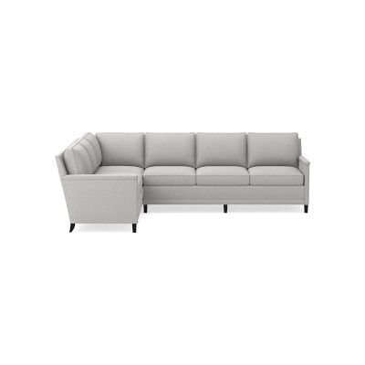 Addison Sectional, Left 2 Piece L Shape 4 Cushion For Well Known 2pc Polyfiber Sectional Sofas With Nailhead Trims Gray (View 3 of 10)