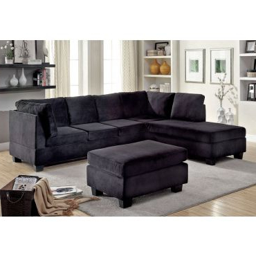 Adnus Black Sectional With Nail Head Trim For Best And Newest 2pc Polyfiber Sectional Sofas With Nailhead Trims Gray (View 4 of 10)