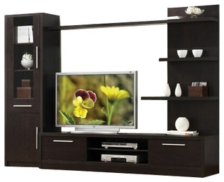 Alden Design Wooden Tv Stands With Storage Cabinet Espresso With 2018 3 Piece Espresso Finish Wood Modern Styling Tv (View 2 of 10)